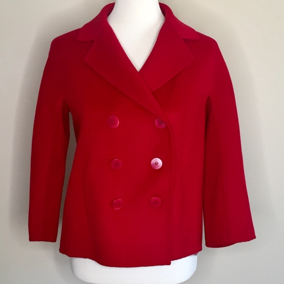 Talbots Jackets & Blazers - Talbots Double Breasted Wool Red Pea Coat 10P NWT